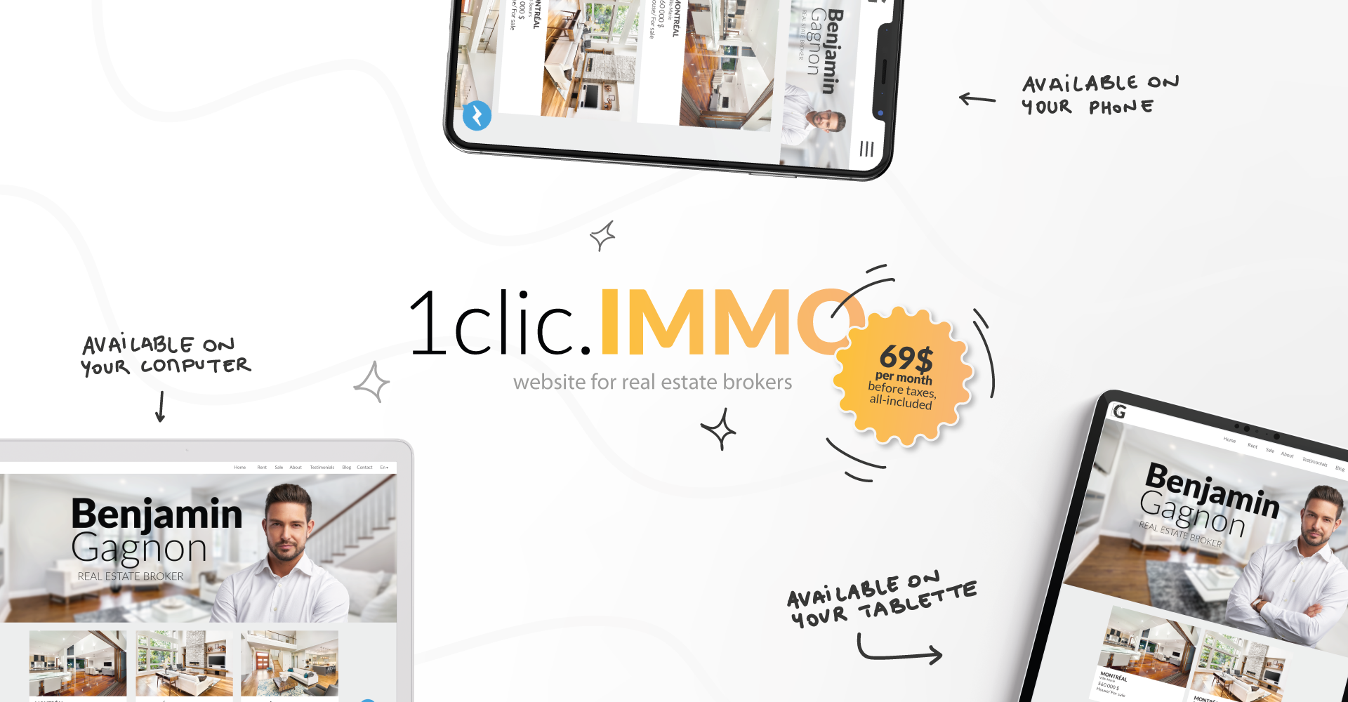1clic.IMMO is a ready-made website solution specifically adapted to real estate professionals. Impress your customers and win leads!